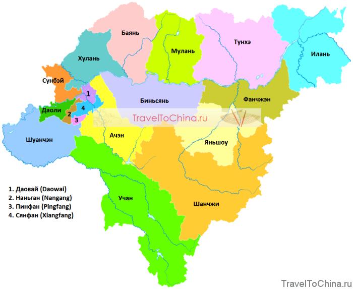 Карта Харбина с районами