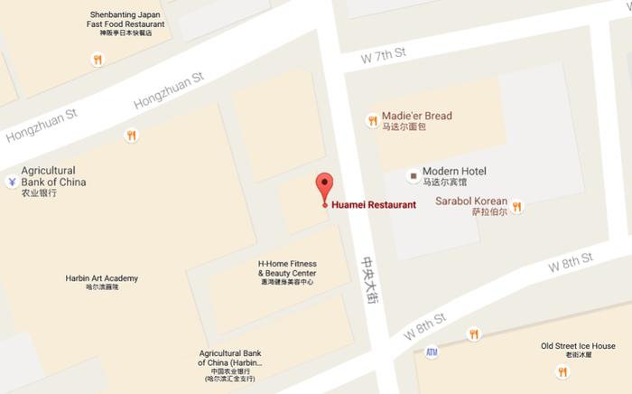 Местоположение ресторана Huamei