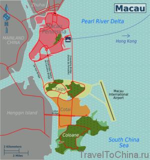 Районы Макао на карте